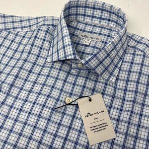 Peter Millar Crown Blue Plaid Short Sleeve Shirt